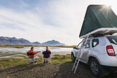 Rooftop Tent Couple w/ Folding Chairs