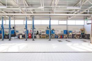 View of automobile repair shop or garage.